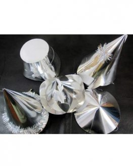 Silver Foil Party Hats Assorted x20