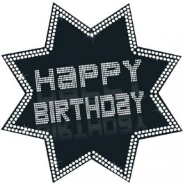 Happy Birthday Black And White Star Cutout