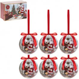 Christmas Santa Baubles 6 Pack