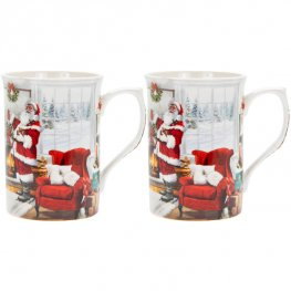 Christmas Santa Mugs Set Of 2