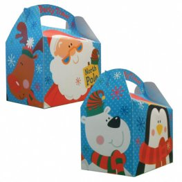 Christmas Penguin & Santa Party Box With Handle