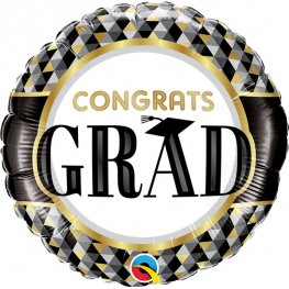 "18"" Congrats Grad Black & Gold Patterns Foil Balloons"