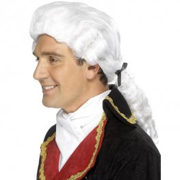 White Court Wigs With Black Ribbons