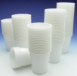 7oz White Plastic Cups x 100