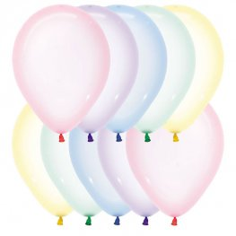 "12"" Crystal Pastel Assorted Latex Balloons 50pk"