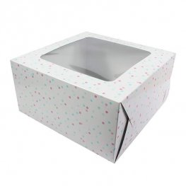 10 Inch Multi Coloured Spot Cake Box