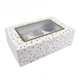 Metallic Spot Cupcake Box