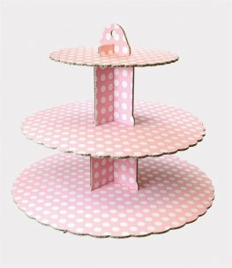3 Tier Pink Spot Cupcake Stand