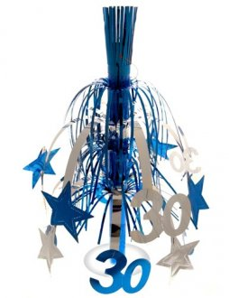 Age 30 Silver And Blue Star Fountain Decoration