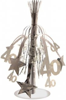Age 40 Silver Star Fountain Decoration