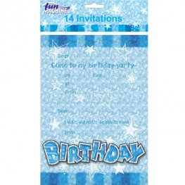Happy Birthday Blue Glam Invitations 14pk