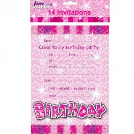 Happy Birthday Pink Glam Invitations 14pk