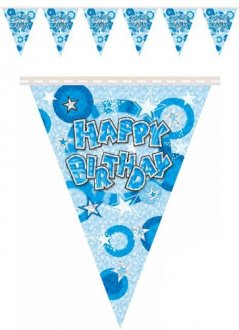 Glam Blue Happy Birthday Bunting