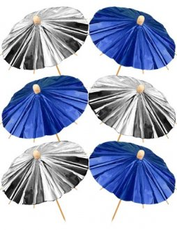 Blue And Silver Foil Parasols x12