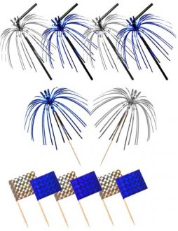 Blue And Silver Foil Picks Straws And Flags x36