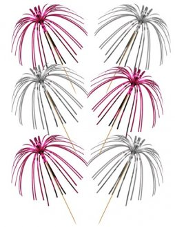 Pink And Silver Foil Palm Picks x30
