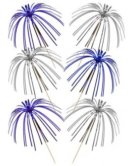 Blue And Silver Foil Palm Picks x30