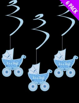 Its A Boy Hanging Swirls x6