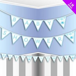 Blue Baby Shower Flag Bunting