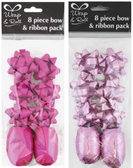 Pink Ribbon And Bow Pack 8pc