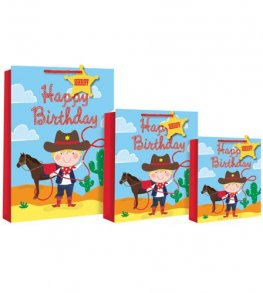Cowboy Happy Birthday Gift Bags