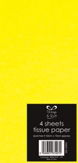 Neon Yellow Tissue Paper x4 Sheets