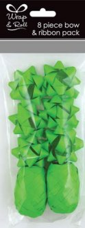 Neon Green Ribbon And Bow Pack 8pc
