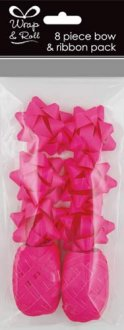 Neon Pink Ribbon And Bow Pack 8pc