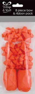 Neon Orange Ribbon And Bow Pack 8pc