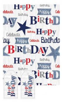 Happy Birthday Blue Male Gift Wrap And Tags