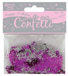 Pink And Silver Happy Birthday Confetti