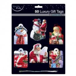 Contemporary Santa Luxury Gift Tags 50pk