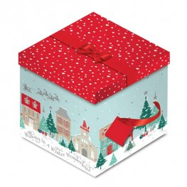 House & Sleigh Christmas Square Gift Box