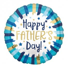 "18"" Happy Fathers Day Painted Stripes Foil Balloons"