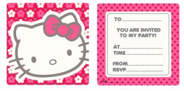 Hello Kitty Flower Invites x6