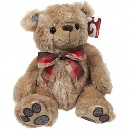 "10"" Glitter Paws Brown Bear With Check Ribbon"