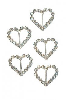 Silver Diamante Mini Heart Shape Buckle x5
