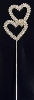 Silver Diamante Double Heart Pick