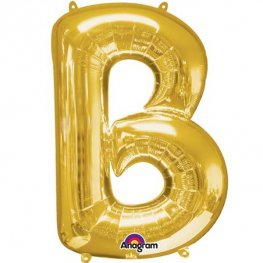 "16"" B Letter Gold Air Filled Balloons"