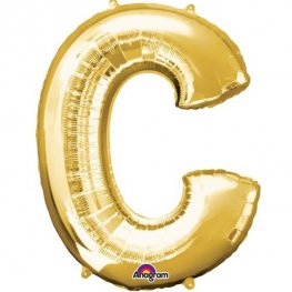 "16"" C Letter Gold Air Filled Balloons"