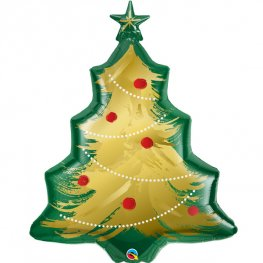 Christmas Tree Brushed Gold Supershape Balloons