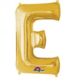 "16"" E Letter Gold Air Filled Balloons"