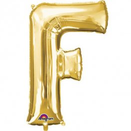 "16"" F Letter Gold Air Filled Balloons"
