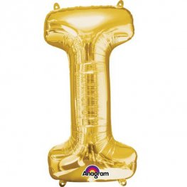 "16"" I Letter Gold Air Filled Balloons"