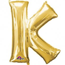 "16"" K Letter Gold Air Filled Balloons"