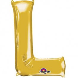 "16"" L Letter Gold Air Filled Balloons"