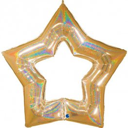 "48"" Gold Linky Star Glitter Holographic Balloons"