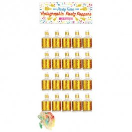 Gold Holographic Party Poppers 20pk