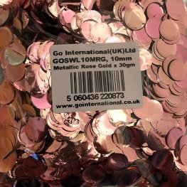 10mm Metallic Rose Gold Circular Confetti 30g