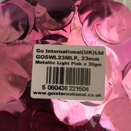 23mm Metallic Light Pink Circular Confetti 30g